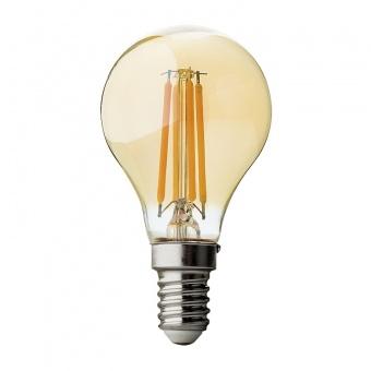 димируема led лампа filament, амбър, топла светлина, ultralux,4w, e14, 2500k, 350lm, lfg41425d