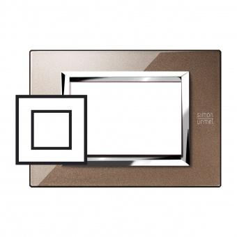 метална двумодулна рамка, glossy bronze, simon urmet, expi, 13902.bl