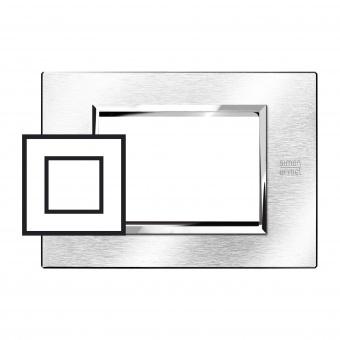метална двумодулна рамка, brushed chrome, simon urmet, expi, 13902.cs