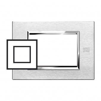 метална двумодулна рамка, satin aluminium , simon urmet, expi, 13902.as