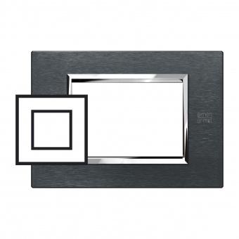 метална двумодулна рамка, karbon aluminium, simon urmet, expi, 13902.ak