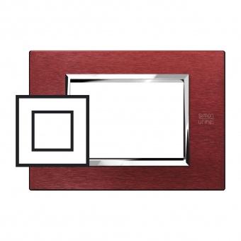 метална двумодулна рамка, red aluminium, simon urmet, expi, 13902.rs