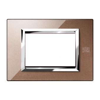 метална тримодулна рамка, glossy bronze, simon urmet, expi, 13903.bl
