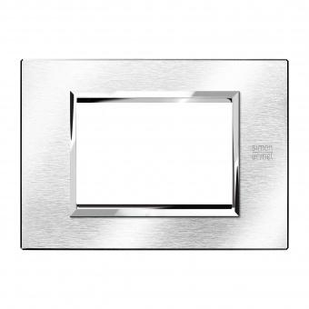 метална тримодулна рамка, brushed chrome, simon urmet, expi, 13903.cs