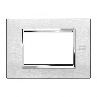 метална тримодулна рамка, satin aluminium, simon urmet, expi, 13903.as