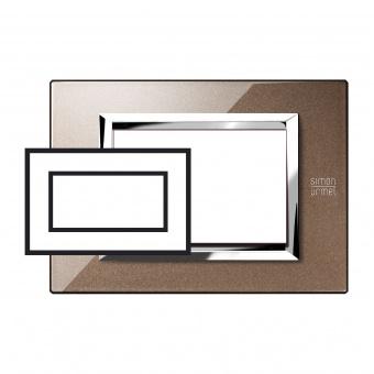 метална четиримодулна рамка, glossy bronze, simon urmet, expi, 13904.bl