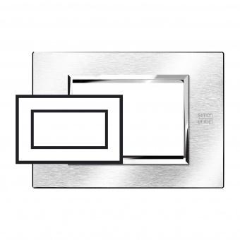 метална четиримодулна рамка, brushed chrome, simon urmet, expi, 13904.cs