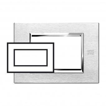 метална четиримодулна рамка, satin aluminium, simon urmet, expi, 13904.as