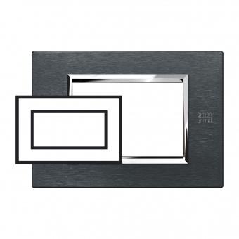 метална четиримодулна рамка, karbon aluminium, simon urmet, expi, 13904.ak