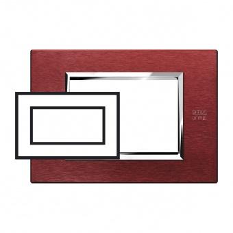 метална четиримодулна рамка, red aluminium, simon urmet, expi, 13904.rs