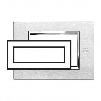 метална шестмодулна рамка, satin aluminium, simon urmet, expi, 13906.as