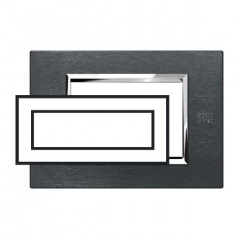 метална шестмодулна рамка, karbon aluminium, simon urmet, expi, 13906.ak