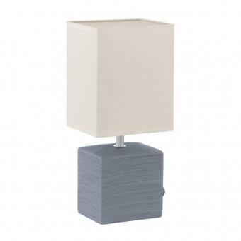 текстилна настолна лампа, grey, eglo, mataro, 1x40w, 93044