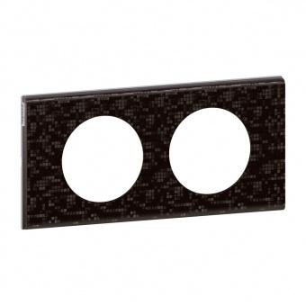 кожена двойна рамка, черна мозайка, legrand, celiane, 69452