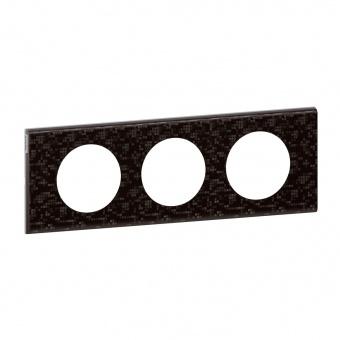 кожена тройна рамка, черна мозайка, legrand, celiane, 69453