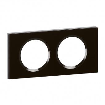 стъклена двойна рамка, черно стъкло, legrand, celiane, 69302