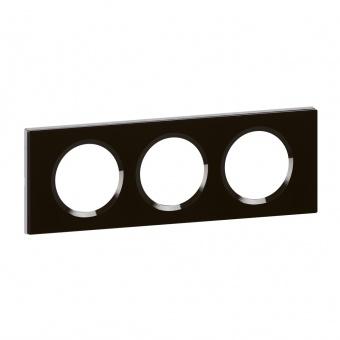 стъклена тройна рамка, черно стъкло, legrand, celiane, 69303