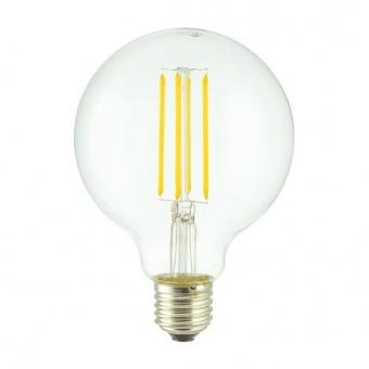 led лампа 7w, e27, топла светлина, 2700k, 800lm, 300°, led lamp filament g95, 20641