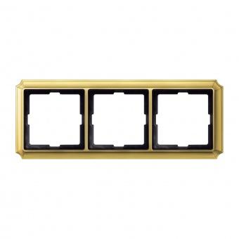 тройна рамка, полиран месинг, schneider, merten antique, mtn483321