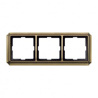 тройна рамка, месинг, schneider, merten antique, mtn483343