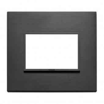 алуминиева тримодулна рамка, total black, vimar, eikon evo, 21653.18