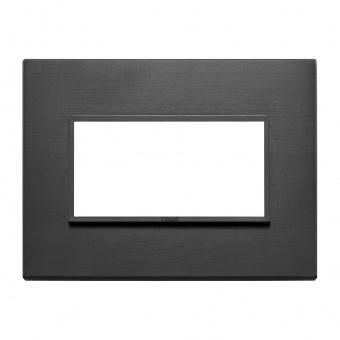 алуминиева четримодулна рамка, total black, vimar, eikon evo, 21654.18