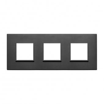 алуминиева тройна рамка, total black, vimar, eikon evo, 21644.18