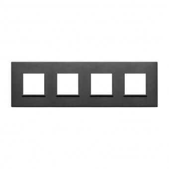 алуминиева четворна рамка, total black, vimar, eikon evo, 21669.18