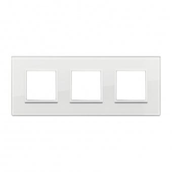 алуминиева тройна рамка, total white diamond, vimar, eikon evo, 21644.87