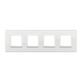 алуминиева четворна рамка, total white diamond, vimar, eikon evo, 21669.87