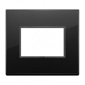алуминиева тримодулна рамка, total black diamond, vimar, eikon evo, 21653.88