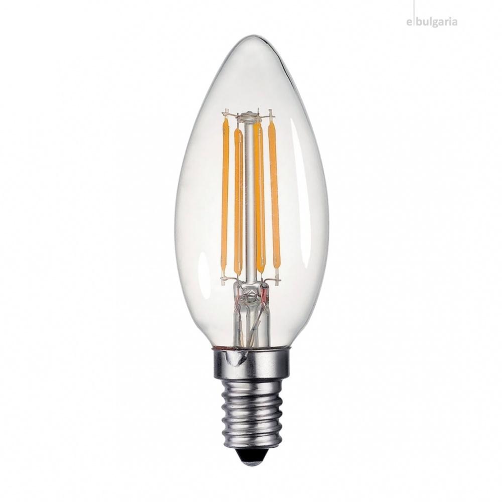 led лампа 4w, e14, filament, топла светлина, 2700k, 360lm, 300°, filament c35, 01558