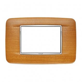 дървена тримодулна рамка, american cherrywood, vimar, eikon chrome, 20683.C36
