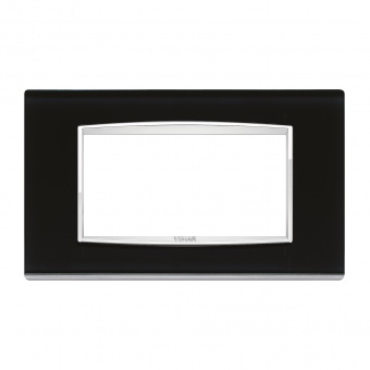 стъклена четиримодулна рамка, black ice, vimar, eikon chrome, 20654.C71