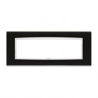 стъклена седеммодулна рамка, black ice, vimar, eikon chrome, 20657.C71