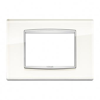 стъклена тримодулна рамка, white ice, vimar, eikon chrome, 20653.C72