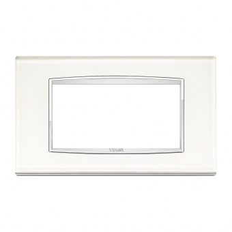 стъклена четиримодулна рамка, white ice, vimar, eikon chrome, 20654.C72