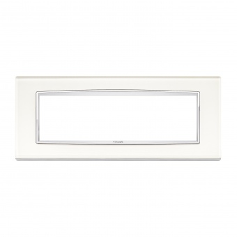 стъклена седеммодулна рамка, white ice, vimar, eikon chrome, 20657.C72