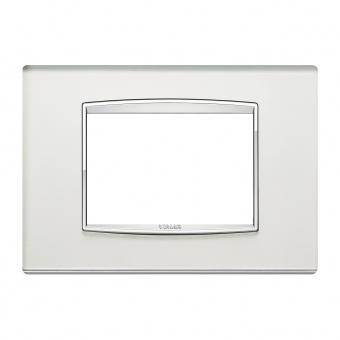 стъклена тримодулна рамка, silver mirror, vimar, eikon chrome, 20653.C81