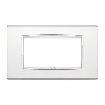 стъклена четиримодулна рамка, silver mirror, vimar, eikon chrome, 20654.C81