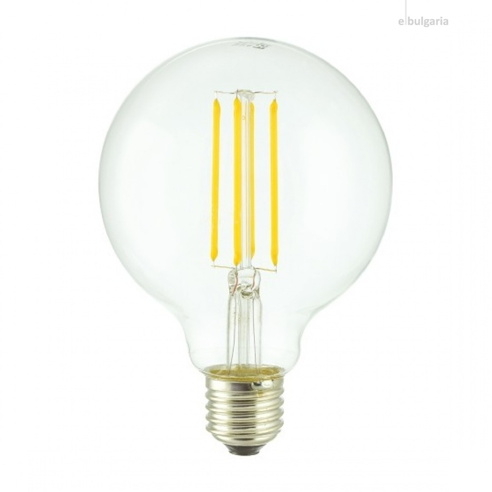 led лампа 4w, e27, топла светлина, 2700k, 470lm, 300°, filament g95, L020207326
