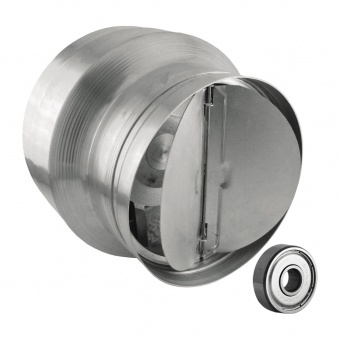 канален вентилатор, сив, с клапа, високотемпературен, mmotors, 135/100, 205m/h3, 42w, метален корпус, mm bok, 2747