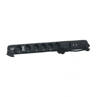 разклонител comfort&security 6x2p+e, rj45x2, tvx2 с кабел 1,5 метра с гръмозащита, черен, legrand, 694666