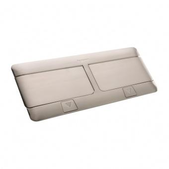 подова кутия 2x4 модула, драскан инокс, legrand, 54023