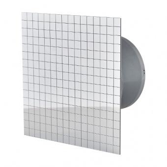 вентилатор за баня, квадрат с клапа, фолио хром, mmotors, ф100/169, 169m/h3, 18w, mm-p, 06 стъкло права, 4819