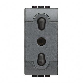контакт италиански стандарт, 10/16a, anthracite, bticino, livinglight, l4180