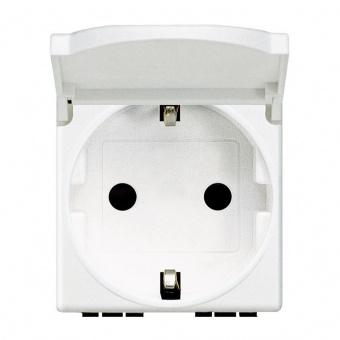 контакт с капак, 16a, white, bticino, livinglight, n4141pw