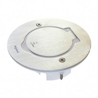 подова кутия, хоризонтално захващане на механизмите, единична кръгла, инокс, ip44/ik8, legrand, 89701