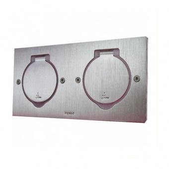 подова кутия, хоризонтално захващане на механизмите, двойна квадратна, инокс, ip44/ik8, legrand, 89702