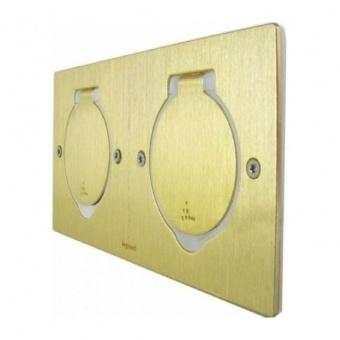 подова кутия, хоризонтално захващане на механизмите, двойна квадратна, бронзе, ip44/ik8, legrand, 89712